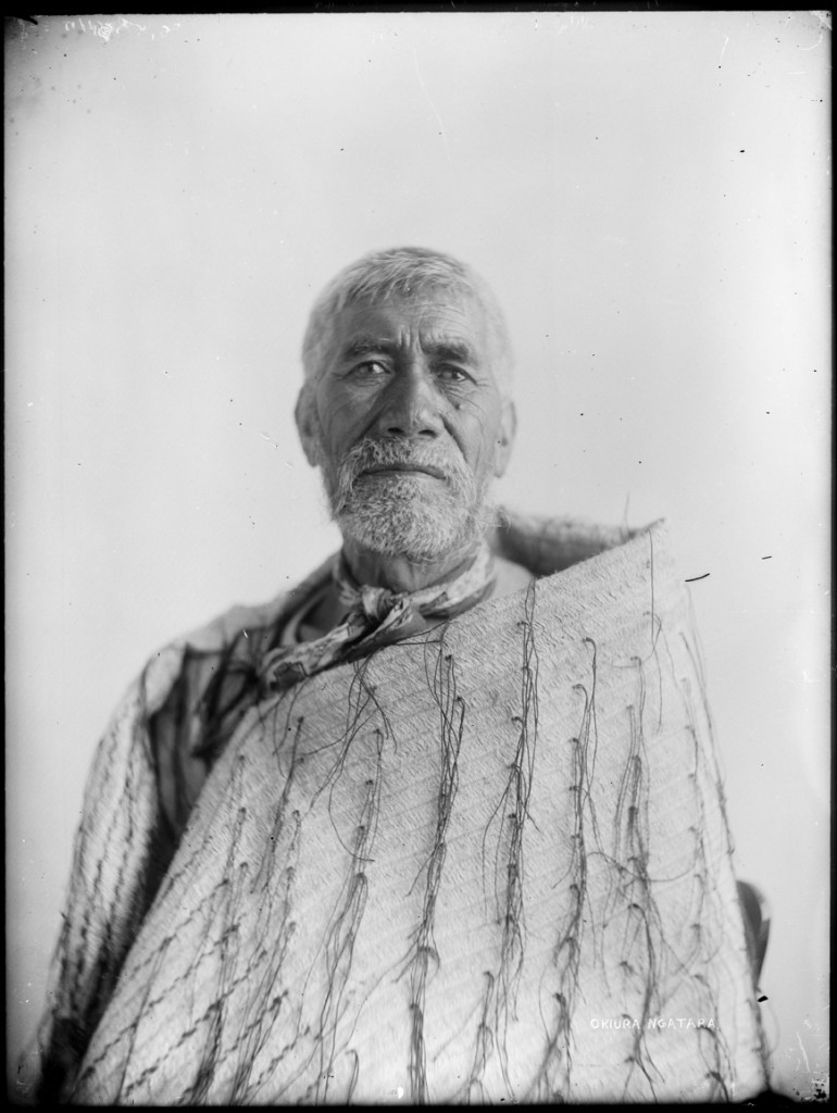 1/2 length portrait of a Maori man, possibly Okiura Ngatara, Auckland Libraries, Sir George Grey Special Collections, Auckland Libraries, 4-7316, no known copyright.