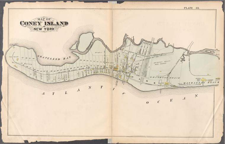 Map of Coney Island, New York, from Atlas of the entire city of Brooklyn, complete in one volume. From actual surveys and official records by G. W. Bromley & Co. 1880